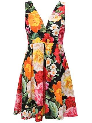 Rochie negru-roz cu model floral si bretele Haily´s Rosalie
