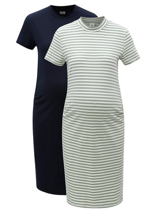 Súprava dvoch tehotenských šiat v modrej a zelenej farbe Mama.licious Lou