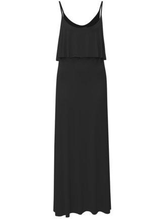 Rochie maxi neagra cu bretele si slituri Haily´s Marlotte