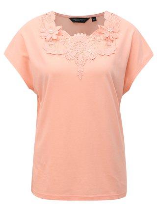 Tricou roz piersica cu dantela Dorothy Perkins