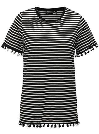 Tricou alb-negru in dungi cu pom pom Dorothy Perkins
