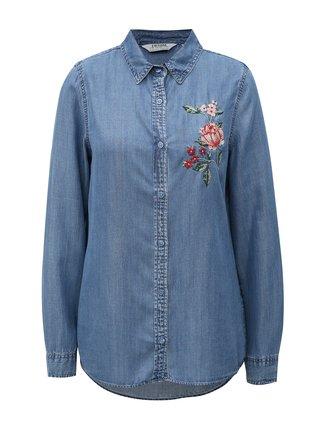 32517cad395f Modrá rifľová košeľa s výšivkou Dorothy Perkins