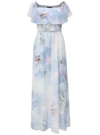 Rochie maxi albastra cu volane si cordon Dorothy Perkins