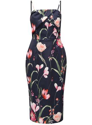 Tmavomodré puzdrové kvetované šaty bez ramienok Dorothy Perkins