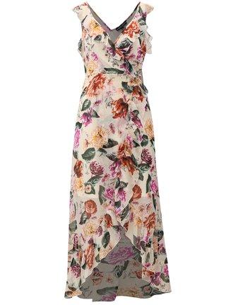 Rochie maxi crem cu model floral si volane Dorothy Perkins