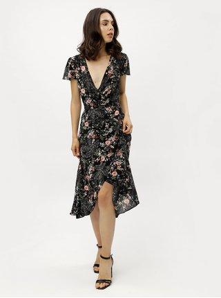 Černé květované zavinovací šaty Miss Selfridge