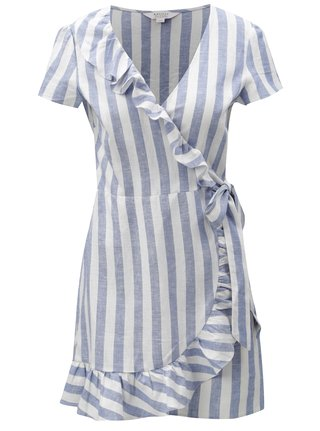 Modro-bílé pruhované lněné zavinovací šaty Miss Selfridge Petites