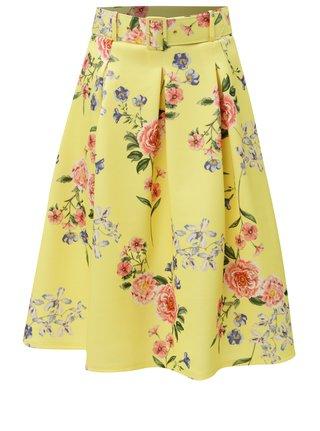 Žltá kvetovaná sukňa s opaskom Miss Selfridge
