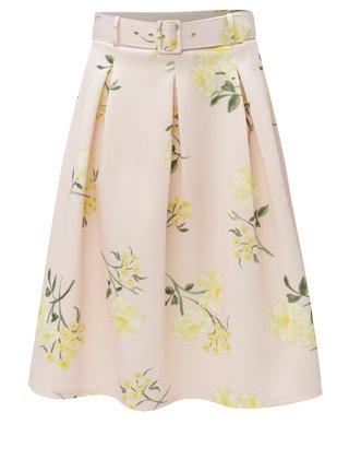 Svetloružová kvetovaná sukňa s opaskom Miss Selfridge