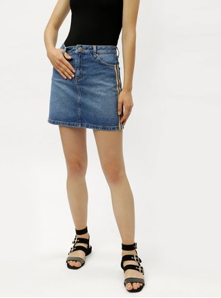 Fusta mini albastra din denim cu dungi pe laturile Miss Selfridge