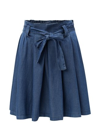 Modrá rifľová sukňa s opaskom VILA Bista