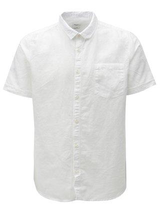 Biela ľanová košeľa s krátkym rukávom Burton Menswear London