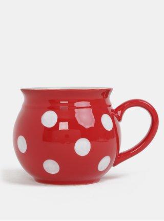 Cana ceramica rosie cu buline Dakls