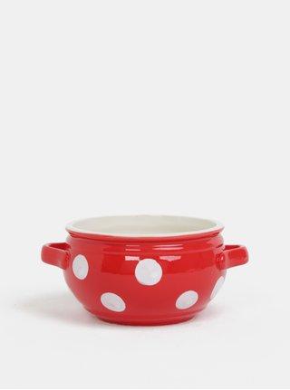 Červená keramická miska s bodkami Dakls