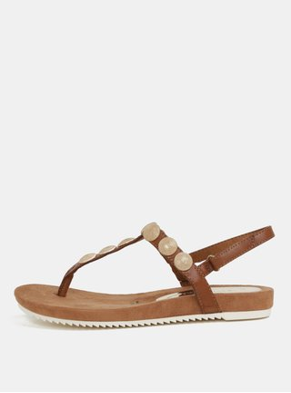 Sandale maro cu detalii aurii Tamaris