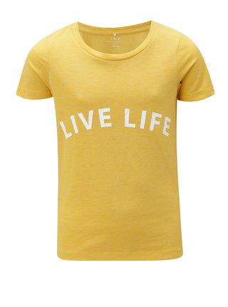 Horčicové dievčenské tričko s potlačou LIMITED by name it Veenkada