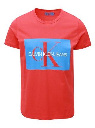 Červené pánské tričko s potiskem Calvin Klein Jeans