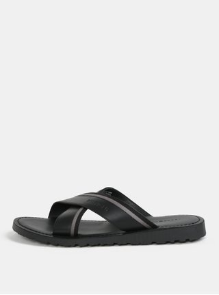 Černé pánské kožené pantofle Tommy Hilfiger 033bb48184