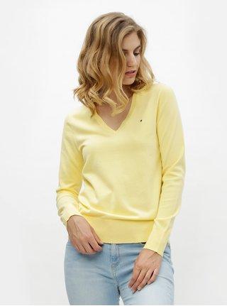 Žltý dámsky sveter s véčkovým výstrihom Tommy Hilfiger