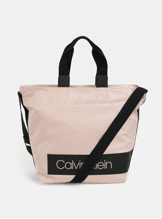 Svetloružová veľká kabelka Calvin Klein Jeans