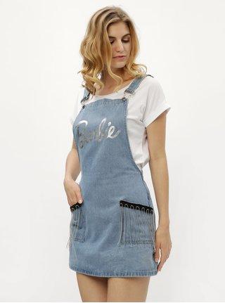 Světle modré džínové šaty s laclem a třásněmi MISSGUIDED Barbie