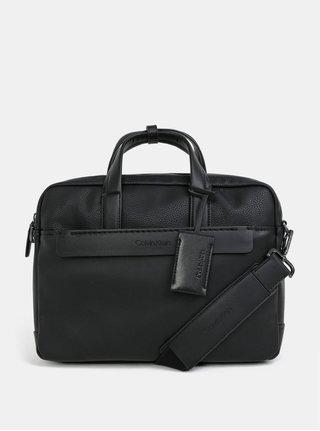 Čierna koženková taška na notebook Calvin Klein Jeans