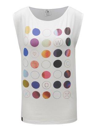 Tricou alb cu buline multicolore WOOX Punctatus Albus