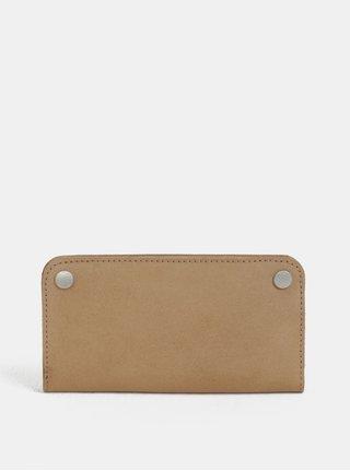 Svetlohnedá kožená peňaženka s patentkami WOOX Ellen