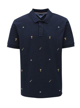 9660a632067 Tmavě modré pánské vzorované regular fit polo tričko Tommy Hilfiger