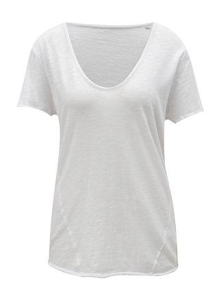 Biele dámske tričko s véčkovým výstrihom Stanley & Stella Slub