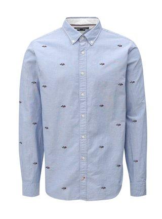 Svetlomodrá pánska vzorovaná regular fit košeľa Tommy Hilfiger