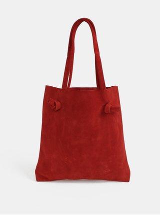 Červená kožená taška cez rameno s uzlami WOOX Tegula Simplex Purpurea
