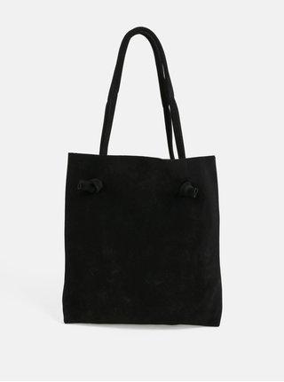 Černá kožená taška přes rameno s uzly WOOX Tegula Simplex Ater