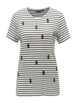 Černo-bílé pruhované dlouhé tričko s výšivkami Dorothy Perkins Tall