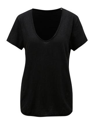 Čierne dámske basic tričko s véčkovým výstrihom Stanley & Stella Slub