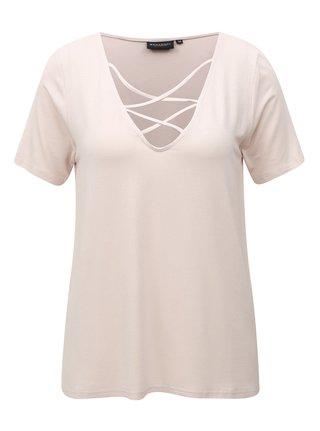 Svetloružové dámske tričko s pásikmi v dekolte Broadway Camara