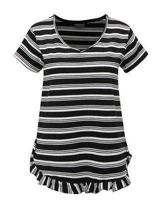 Bielo-čierne pruhované oversize tričko s volánom Broadway Darian