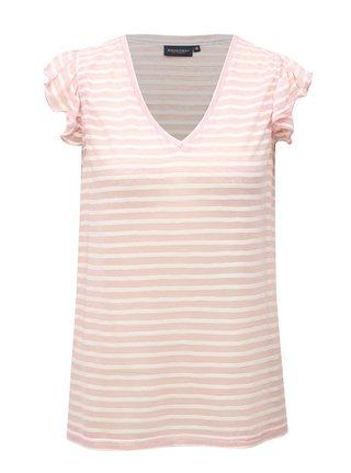 Bielo-ružové pruhované dámske tričko Broadway Felicie