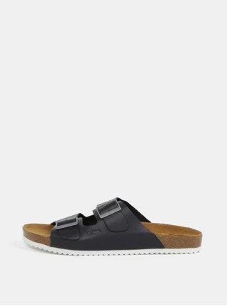 Tmavomodré pánske kožená papuče Pepe Jeans Bio basic
