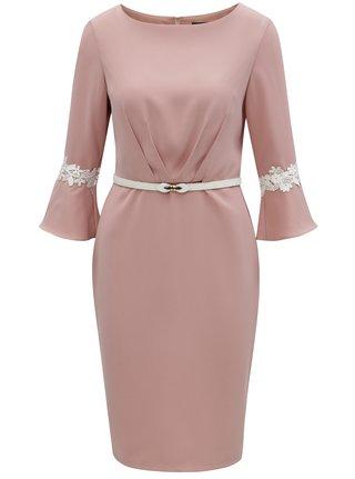 Růžové pouzdrové šaty s páskem Paper Dolls