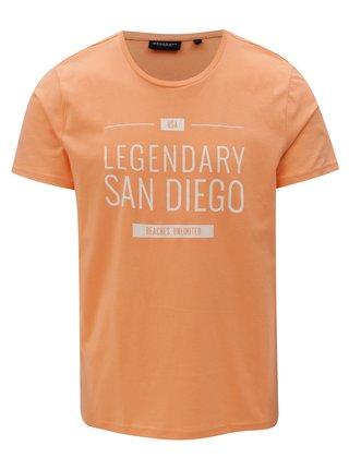 Oranžové pánske tričko s potlačou Broadway Ellwood