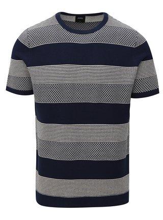 Tmavě modrý pruhovaný svetr s krátkým rukávem Burton Menswear London