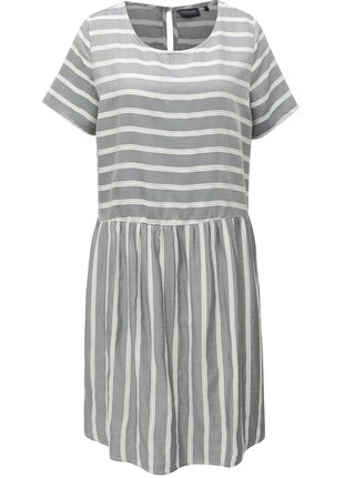 Sivé pruhované šaty s prestrihom na chrbte