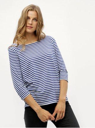 Modré pruhované tričko s 3/4 rukávom VERO MODA Jany