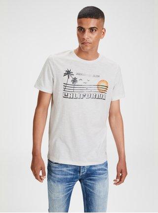 Biele melírované tričko s potlačou Jack & Jones