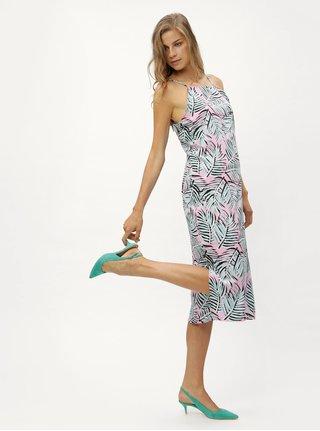 Rochie midi mentol-roz cu model si bretele subtiri Noisy May