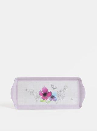 Svetlofialová malá tácka s kvetovaným motívom Cooksmart