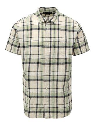 Zeleno-krémová lněná košile Jack & Jones