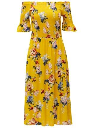 Rochie galben cu model floral si decolteu pe umeri Dorothy Perkins
