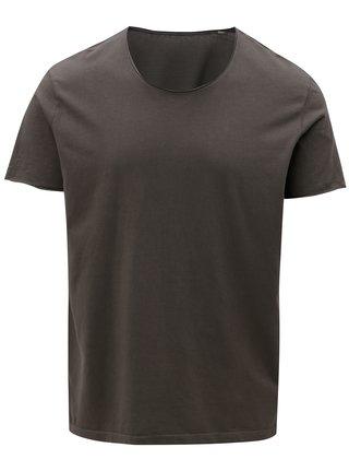 Tmavosivé pánske basic tričko s okrúhlym vzorom Stanley & Stella